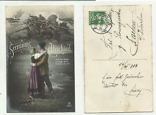 84676 antica cartolina  spedita da svizzera seemann abschied marinaio addio