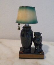 "VINTAGE EVANS FIGURAL LIGHTER CERAMIC BLACK CAT AND LAMP ON A BOOK 5 1/2"" TALL"