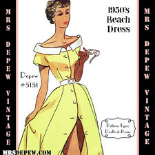 Vintage Sewing Pattern 1950s Beach Dress Cover Up in Any Size, Plus Size 5151