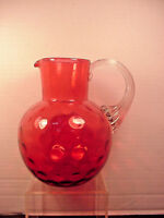 Cranberry Pitcher Water Jug Thumbprint Coin Dot Polished Pontil