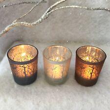 3 x Woodland Scene Tea Light Votive Holders Candle T Light Vintage Silver Trees