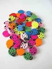 50pcs mix colour 19mm wooden lady bug beads jewellery making craft UK