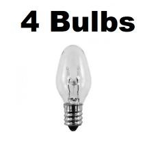 4 Night Light / Candle Lamp Bulbs -7 watt, C7, Clear, Candelabra (7C7C)