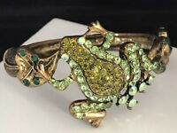 Kirks Folly Antique Gold Tone Frog Bracelet Green Crystals Hinged Bangle 7G