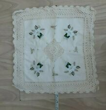 Small Square Cushion Cover Cotton Cream Crochet Embroidered Christmas
