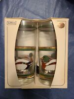 Vintage Libbey 22k Gold Mallard Duck Design Crystal Tumblers Drinking Glasses