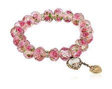 "Betsey Johnson ""Tzarina Princess"" Pink Flower Bead Stretch Brac... Free Shipping"