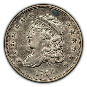 1836 H10c Capped Bust Silver Half Dime - Strong Die Clash - Luster - AU - B1423