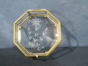 Trinket Box Brass Glass Etched Flowers Ball Feet Octagon Vintage Vanity Jewelry