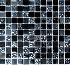 Mosaico Tessere Vetro Pietra traslucido Cristallo Grigio Nero 82-0208_f|10foglie