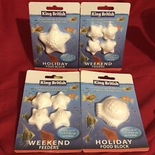 4 x Vacation & Weekend Holiday Fish Food Blocks Tropical Or Coldwater 3-4 Day