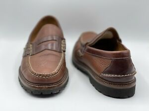 Orvis Mens 10 D Gokey Lug Sole Penny Loafer Moccasin Slip On Leather Shoes USA