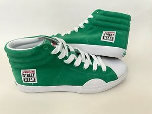 Vintage VISION STREET WEAR Green Suede Hi Shoes Sneakers Skateboarding Size 9.5