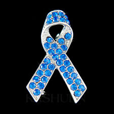 Royal Blue w Swarovski Crystal Colon Testicular Cancer Awareness Ribbon Brooch