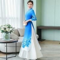 Women Floral Chinese Folk A-Line Slim Fit Long Dress Cheongsam Ao Dai Qipao Gown