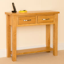 Newlyn - Oak Console / Light Oak Hall Table / Two Drawer Side / End Table