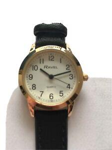 Ravel Ladies Easy Read Quartz Watch Black Strap White Face R0132.22.2