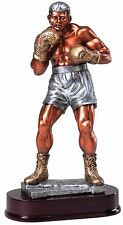 """Boxing Trophy Beautiful Bronze Silver And Gold Resin Sculpture M*Rf24518 12 1/4"""""""