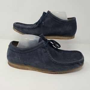 Clarks Mens Wallabee Chukka Blue Suede Shoes Low Top Crepe Gum Size 11.5