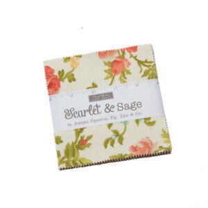 """FABRIC Moda Charm Pack ~ SCARLET & SAGE ~ Fig Tree Quilts  42 - 5"""" squares"""