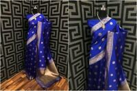 Designer Blue Silk Blend Saree Blouse Jacquard Weaving Sari Wedding Clothing