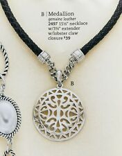 Premier Designs ''Medallion'' genuine leather 15 1/2'' necklace.