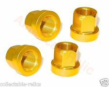 4X Flange Alloy Wheel Nuts Gold Old Vintage School BMX Track Bike Bicycle 3/8 Pr