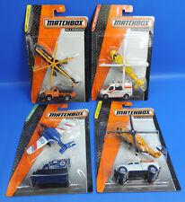 Matchbox Heli + Pick-Up, Heli + Camión, Heli + Ambulancia, Avión + Snowcat