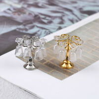 1 Set metal cup holder with 4 wine glasses dollhouse miniature accessories NBDA
