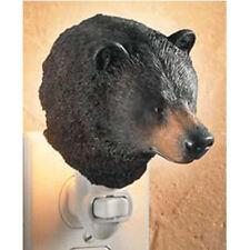 Black Bear Night Light Realistically Hand Painted Lifelike & Translucent Cabin