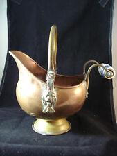 Copper Dutch Helmet Lion Head Coal Ash BUCKET White/Blue Handle Brass Handmade