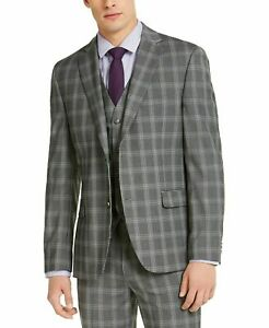 Alfani Slim Fit Grey Plaid Suit Mens 38 38R  30 x 32 $495