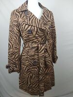 Boden Zebra Print Belted Peacoat Jacket Trench 100% Cotton Double Breasted Sz 8