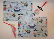 BLUE PIRATES GIFT WRAPPING PAPER 2 X SHEETS 50CM X 70CM & 2 TAGS BOYS BIRTHDAY