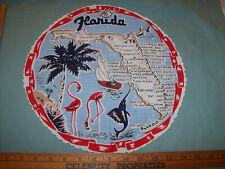 VINTAGE 1950's ROUND FLARIDA MAP HAND ROLL TABLE SCARF HANDKERCHIEF HANKIE