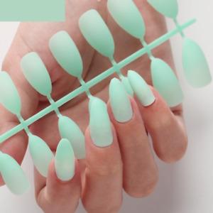24Pcs Detachable False Nails  Press On Fake Nails - Greenish Light Blue