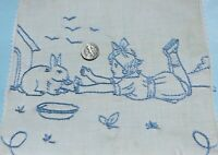 """Antique Hand Embroidered Blue Girl With Bunny Rabbit On Cotton Fabric~7""""X8"""""""