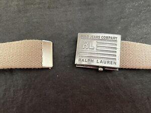 Ralph Lauren Plaque Buckle Unisex Belt Military Style. Sz. M. Tan/Silver. EUC