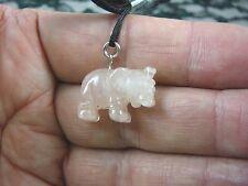 (an-ele-3) baby Elephant Pink Quartz carving Pendant Necklace Figurine gemstone