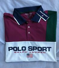 NWT Mens POLO SPORT Ralph Lauren Performance Classic Fit Flag Polo Shirt Size M