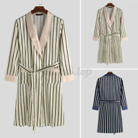 UK Womens Mens Silky Satin Kimono Robe Gown Bathrobe Striped Printed Gown Dress