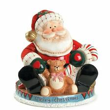 Fitz And Floyd Fireplace Santa Cookie Jar Teddy Bear Christmas Candy Cane Treats