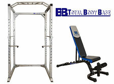 Total Body Base Power Rack Squat Cage Stand with Fully Adjustable Weights Bench