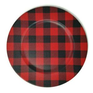 """Saro Lifestyle Buffalo Plaid Charger Plates in Red/Black 14"""" (Set of 4)"""