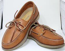 ROCKPORT Brown Leather Wide Boat Shoes Laces Loafers Perth Mens MR 5106 10 M