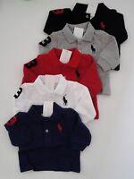 NWT Ralph Lauren Infant Boys Long Sleeve Big Pony Mesh Polo Shirt Sz 3m NEW $40