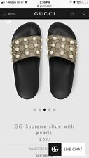 Gucci Supreme Pearl Slides Sandals Size 40 Hard To Find Rare Authentic GG