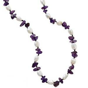 """Park Lane """"Le Petite"""" NECKLACE - Genuine Amethyst & Real Pearls! -  LOVELY!"""