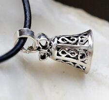 Silber Anhänger 2,5 cm Floral Herz Verspielt Glocke Klingel Kettenanhänger Kette