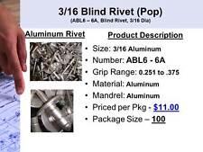 3/16 Aluminum Pop (Blind) Rivet